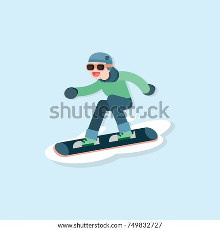 Happy young man skiing, Winter sports concept, vector cartoon illustration.