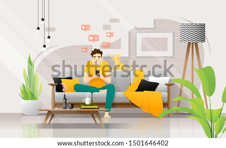 Happy young man using smartphone while sitting on sofa in living room, relaxing at home with his cat ,vector , illustration