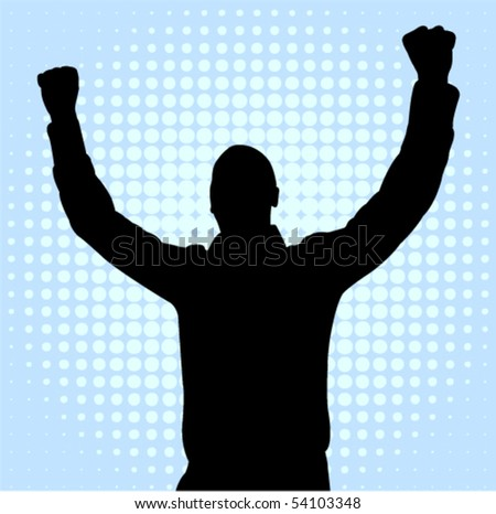 happy young man with hands up - vector