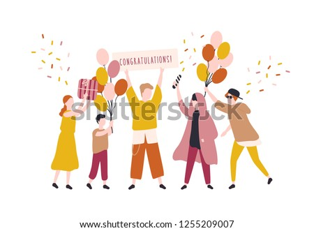 Happy young men and woman celebrating birthday. People rejoicing at surprise party. Joyful teenagers with gifts, balloons and congratulation banner. Colorful vector illustration in trendy flat style.