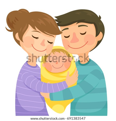 happy young parents hugging a