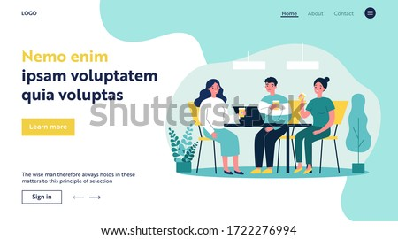 Happy young people drinking coffee together at lunch flat vector illustration. Meeting of company employees at office for work. Teamwork and communication concept.