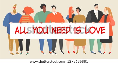 Happy young people holding a big banner with an inscription on Valentine's Day. Loving couples of different nationalities and sexual orientation. Vector illustration in cartoon style.