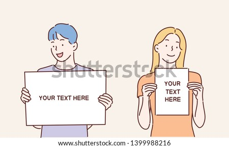 Happy young people holding/showing/displaying white blank board/banner/poster.Hand drawn style vector design illustrations.