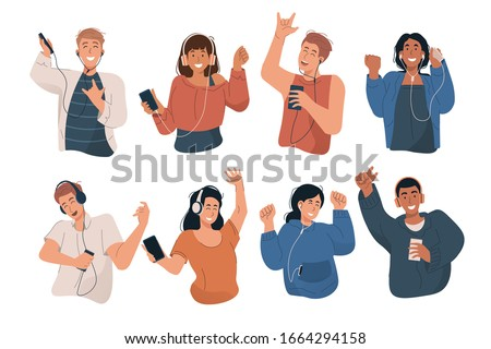 Happy young people wearing headphones and earphones. Boys and girls listening to music and dancing with mp3 player and smartphone. Flat cartoon characters set isolated on white background