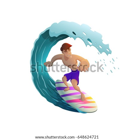 happy young surfer guy
