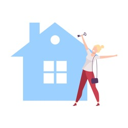 Happy Young Woman Bought New House, Girl Standing in Front of Home, Real Estate Deal Vector Illustration