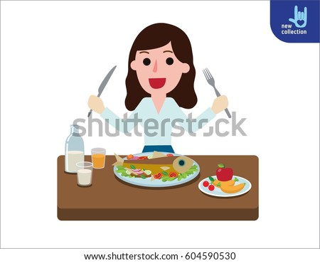 happy young woman eating