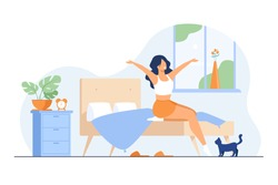 Happy young woman getting up and smiling isolated flat vector illustration. Cartoon healthy girl awakening in bedroom. Morning and comfort concept