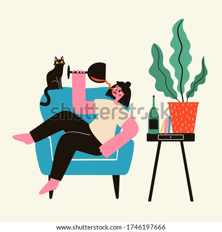 Happy young woman lying on blue armchair with glass of red wine. Shocked black cat, big plant, books and wine bottle on table. Trendy domestic life vector illustration, wine lover print design