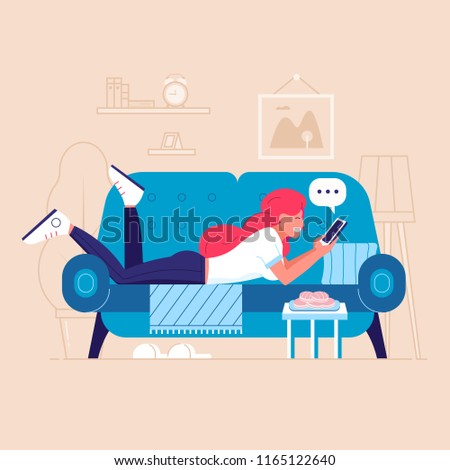 happy young woman on sofa with