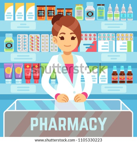 Happy young woman pharmacist sells medications in pharmacy interior. Pharmacology and healthcare vector concept. Medical shop and store, pharmaceutical drugstore illustration