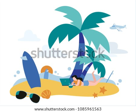 Happy young woman using laptop on a beach.vector illustration banner.Freelance work concept.flat cartoon character design for mobile and web
