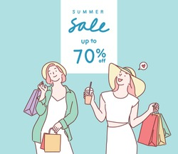 Happy young women in summer clothes holding shopping bags. Hand drawn style vector design illustrations.