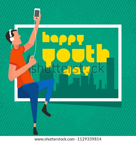 Happy Youth Day Celebration with young Boy and Girl