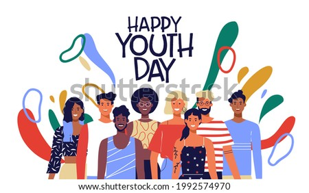 Happy youth day greeting card illustration of fun teen friend group. Social young people together taking action with colorful decoration and diverse culture fashion.