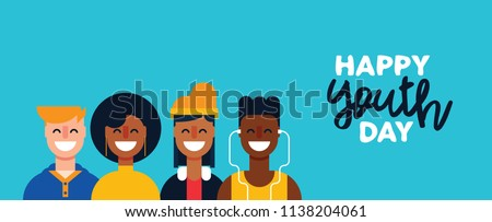 Happy Youth Day web banner. Teen people group of diverse girls and boys in flat style together for holiday celebration. EPS10 vector.