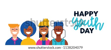 Happy Youth Day web banner. Teen people group of diverse young girls and boys in flat style together for holiday celebration. EPS10 vector.