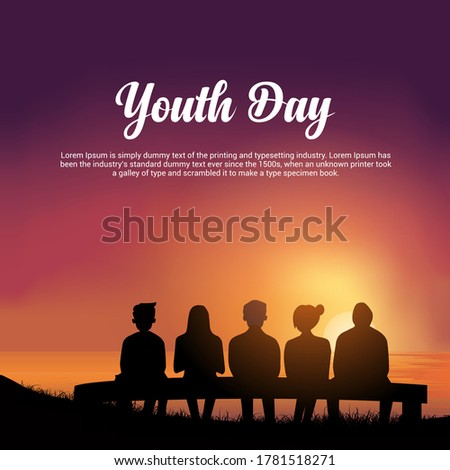 Happy Youth Pledge Day Design with youth silhouette sit in chair. Celebration Youth Pledge Day with sunset
