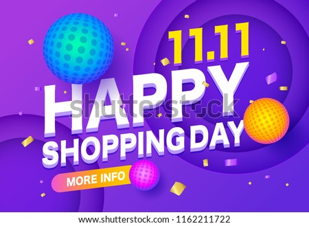 Happyl sale poster or flyer design. Global shopping world day Sale on colorful background. 11.11 Crazy sales