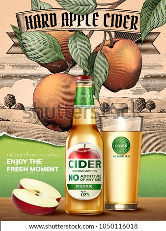 Hard apple cider ads, refreshing beverage with realistic apples and containers in 3d illustration, retro engraving rural scenery background