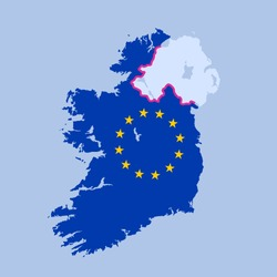 Hard border between Northern Ireland and territory of European union after Brexit. Vector illustration of territories, states and countries with their borders and frontiers.