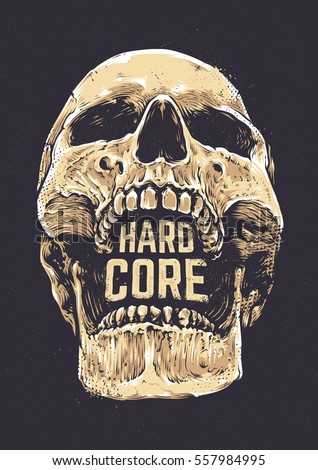hard core skull vector art