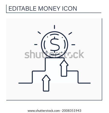 Hard currency line icon. Safe-haven or strong valuta. Globally traded currency that serves as a reliable and stable store of value. Money concept. Isolated vector illustration. Editable stroke Foto d'archivio ©