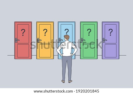 Hard decision, success or failure concept. Businessman standing backwards in front of colourful doors trying to choose one thinking of unknown future and opportunities illustration