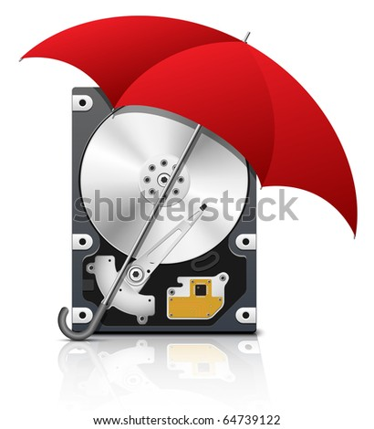 Hard disk drive protection icon, vector