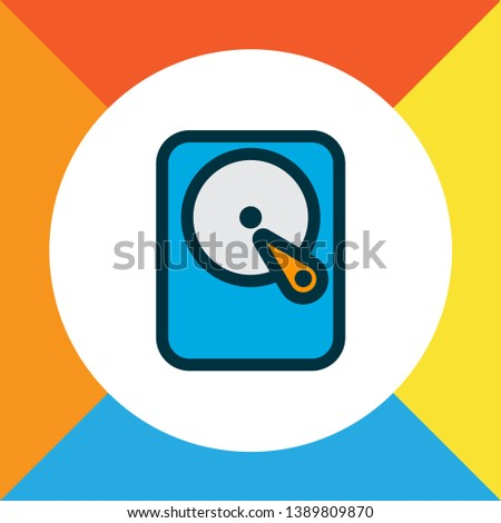 Hard disk icon colored line symbol. Premium quality isolated hdd element in trendy style.