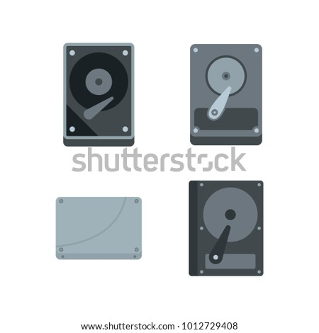 Hard disk icon set. Flat set of hard disk vector icons for web design isolated on white background