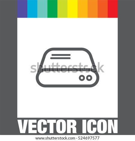 Hard disk line vector icon. HDD sign. Hard drive storage symbol.