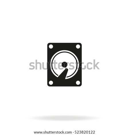 Hard drive disk flat vector icon isolated on white background.