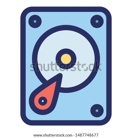 Hard drive, hard disk Outline Vector icon which can be easily modified or edited