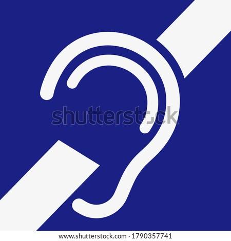 Hard of hearing. No hear icon. Deafness symbol. Deaf icon. Vector.
