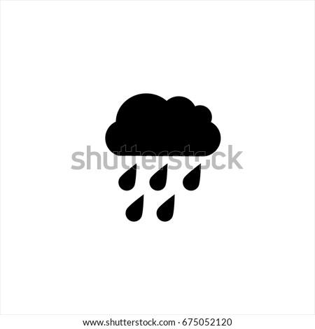 hard rain icon in trendy flat