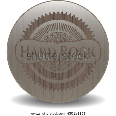 Hard Rock badge with wooden background