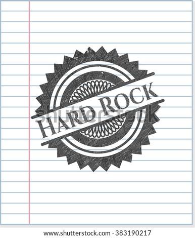 Hard Rock emblem draw with pencil effect