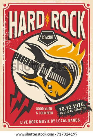 Hard rock event poster template. Rock music concert retro pamphlet with electric guitar and flame.