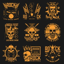 Hard rock festival, heavy mental band concert vector icons. Skull with horns and beard in crown, crossed rock guitars, drums and fire flames with lighting, hard rock fest music show fest signs