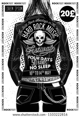 Hard Rock Festival Poster. Rocker Girl in a Leather Biker Jacket.