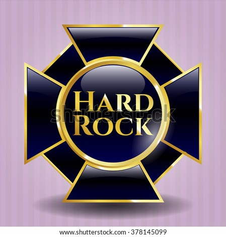 Hard Rock golden emblem or badge