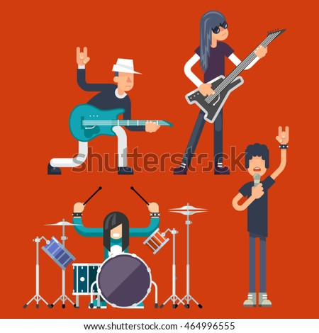 Hard Rock Heavy Folk Group Band Music Icons Guitarist Singer Bassist Drummer Concept Flat Vector Illustration