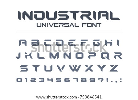 Hard style universal font. Military, army, sport, futuristic technology, future techno alphabet. Letters and numbers for heavy industrial, space game logo design. Modern minimalistic vector typeface