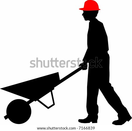 hard worker pushing a wheelbarrow in the construction site - local transport