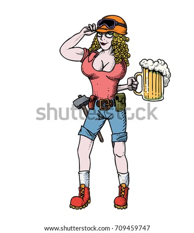 hard working woman with beer