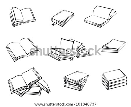 Hardcover books set on white background for education concept design. Jpeg version also available in gallery