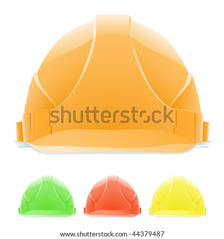 Hardhat in Different Colours. The front view. Vector illustration. Gradient only. No mesh. It is organised on levels.Serie of images