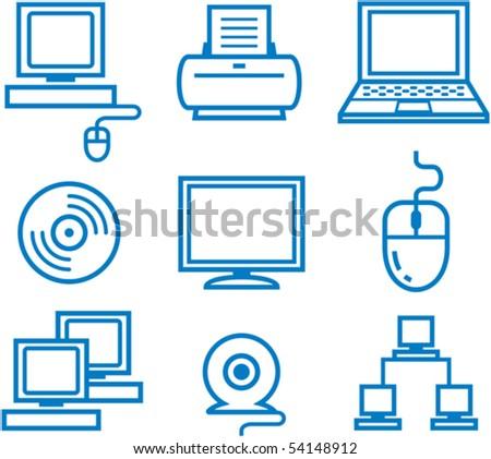 Hardware â?? computers, electronics, electronic technology. Vector illustration